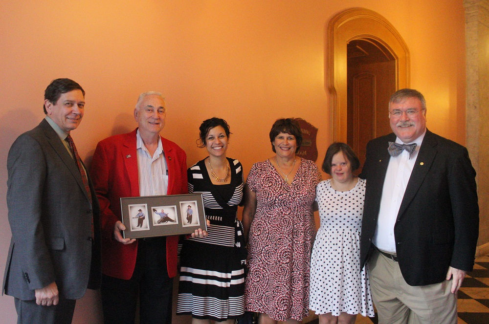 L to R: Dr. David Prentice, Edwin Vance (holding photos of son Justin who has Down syndrome), Stephanie Ranade Krider, Jackie Keough, Mary Kate Keough, and Dr. Dennis Sullivan